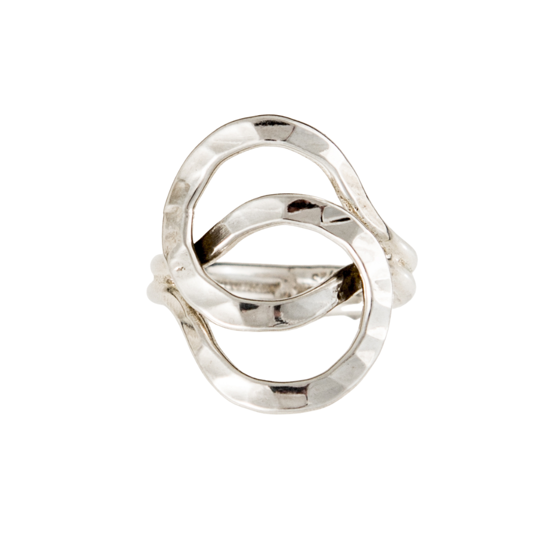 Siesta Silver Jewelry Hammered Interlocking Stacked Circles Statement Ring R7113