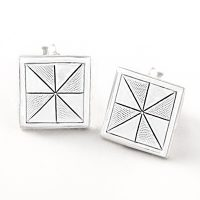 Siesta Silver Pinwheel Quilt Block Earrings on a Post