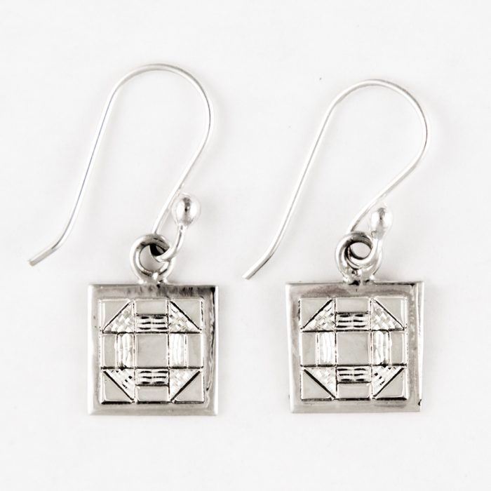 Churn Dash Quilt Jewelry Hook Earrings