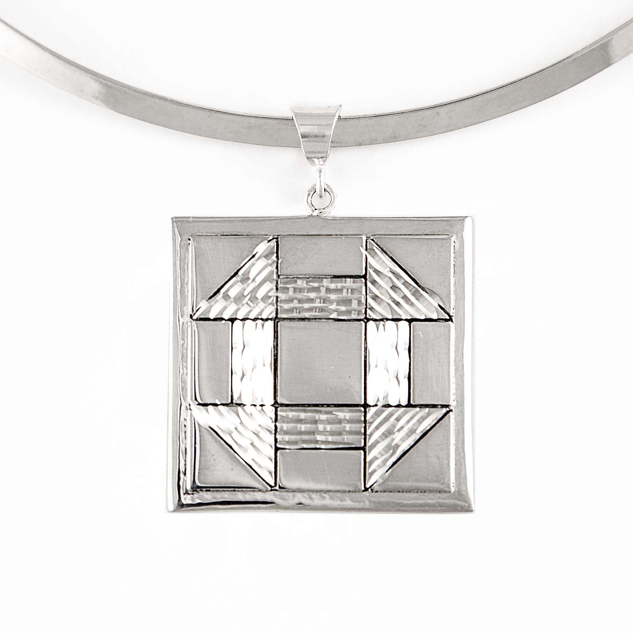 Churn Dash Quilt Jewelry Large Pendant