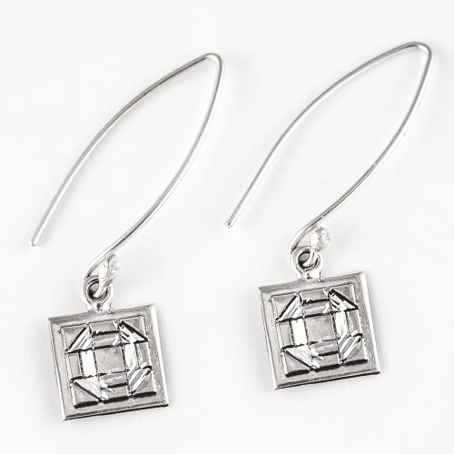 Churn Dash Quilt Jewelry Long Wire Earrings