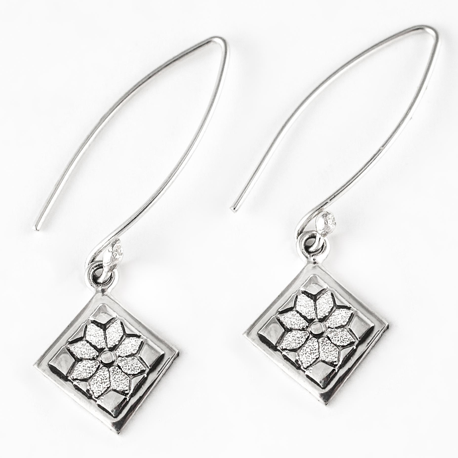 Dresden Plate Quilt Jewelry Long Wire Earrings