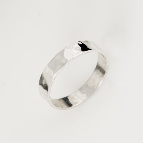 Hammered Band Sterling Silver Band Stackable