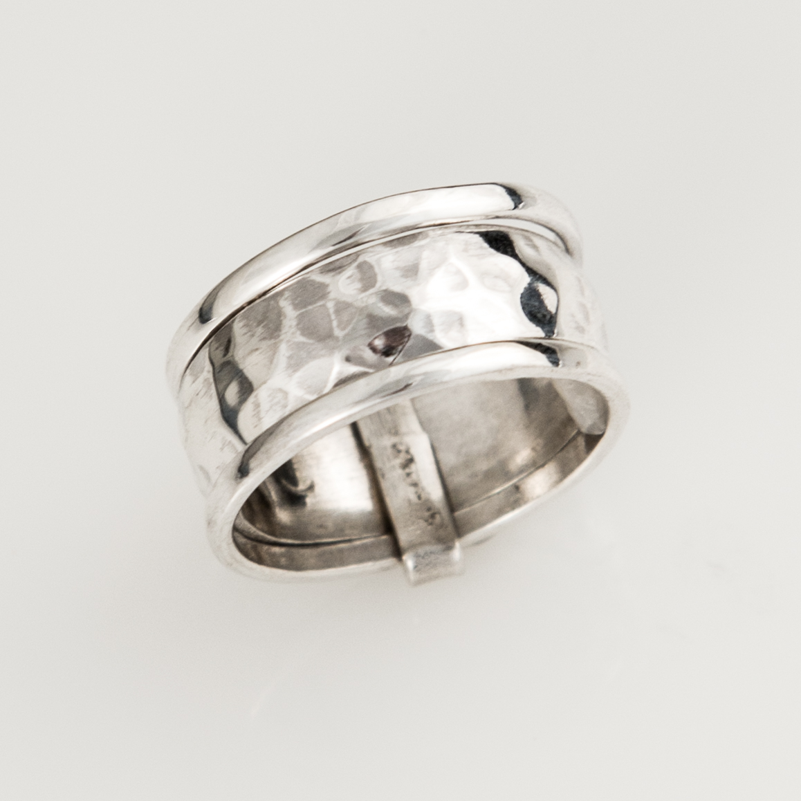 Hammered Banded Spinner Sterling Silver Ring