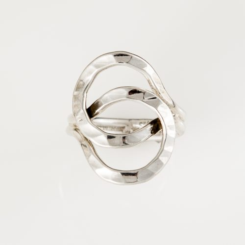 Hammered Stacked Circles Sterling Silver Ring