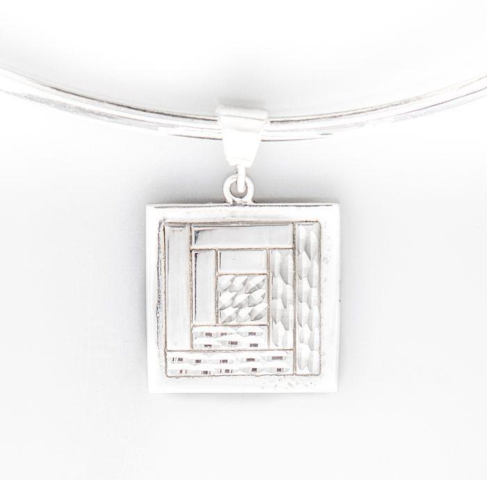 Log Cabin Quilt Jewelry Medium Pendant