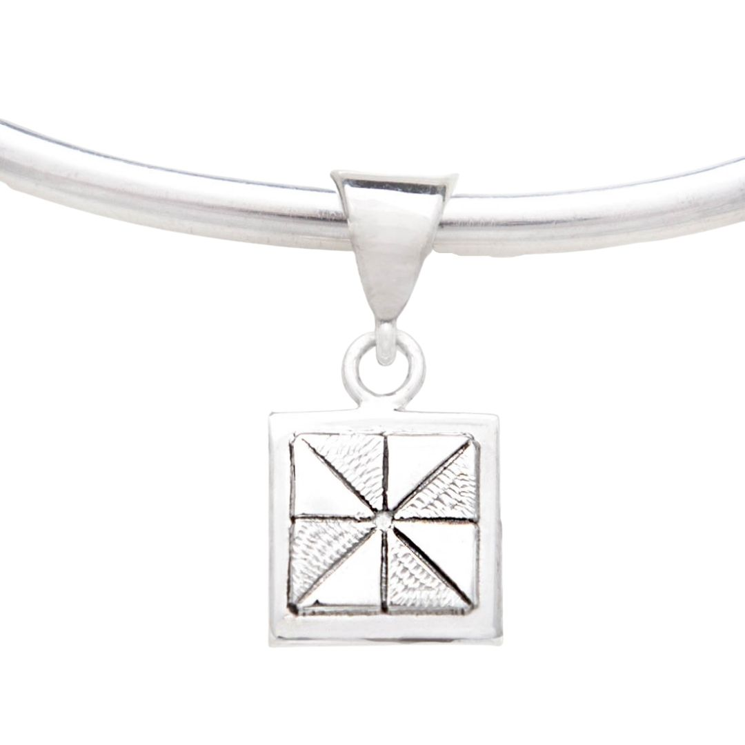 Pinwheel Quilt Jewelry Charm in sterling silver Siesta Silver Jewelry