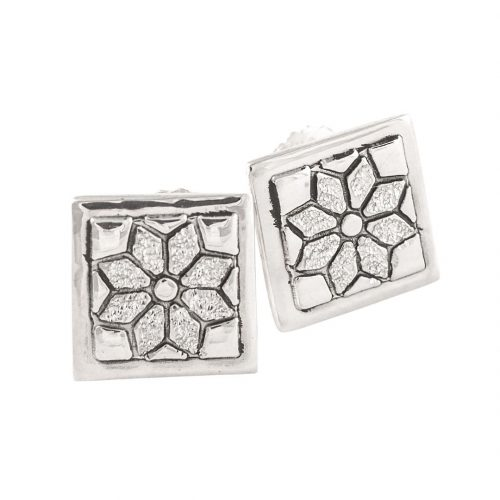 Dresden Plate Quilt Jewelry Post Earrings in Sterling Silver Siesta Silver Jewelry