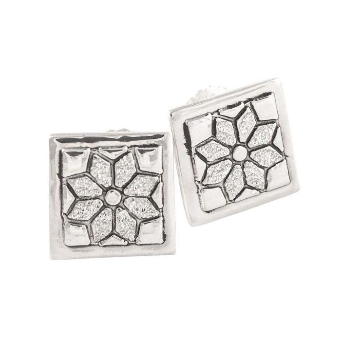 Dresden Plate Quilt Jewelry Post Earrings in Sterling Silver Siesta Silver Jewelry