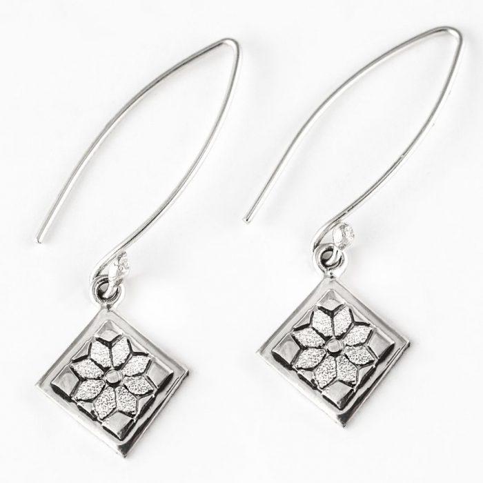 Dresden Plate Quilt Jewelry Long Wire Earrings in sterling silver Siesta Silver Jewelry