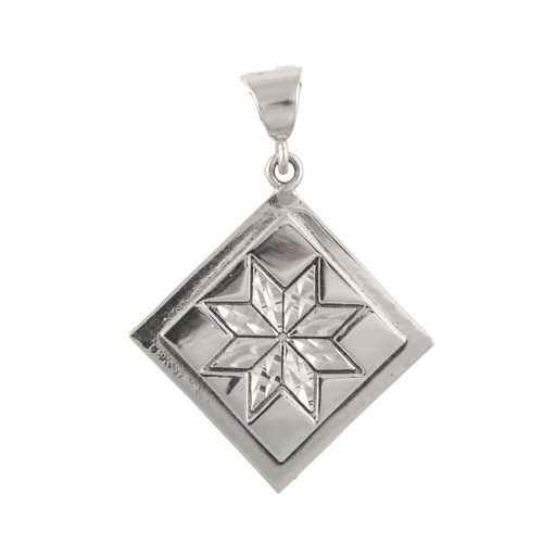 Lemoyne Star Quilt Jewelry Medium Pendant in Sterling Silver Siesta Silver Jewelry