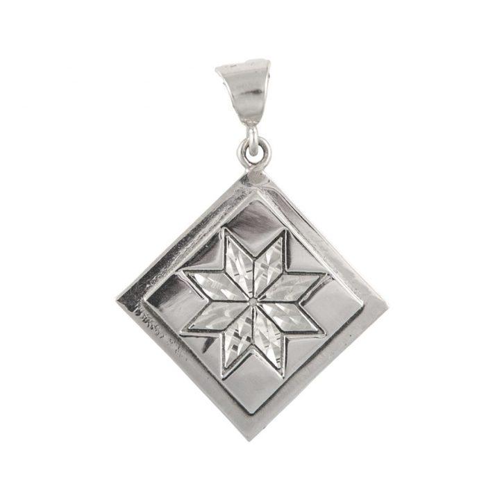 Lemoyne Star Quilt Jewelry Medium Pendant in Sterling Silver Siesta Silver Jewelry