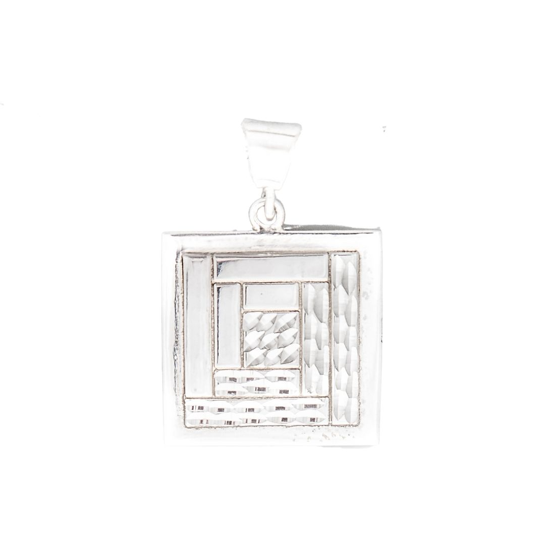 Log Cabin Quilt Jewelry Medium Pendant in Sterling Silver Siesta Silver Jewelry