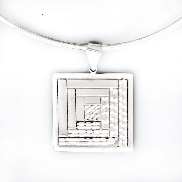 Log Cabin Quilt Jewelry Large Pendant in sterling silver Siesta Silver Jewelry