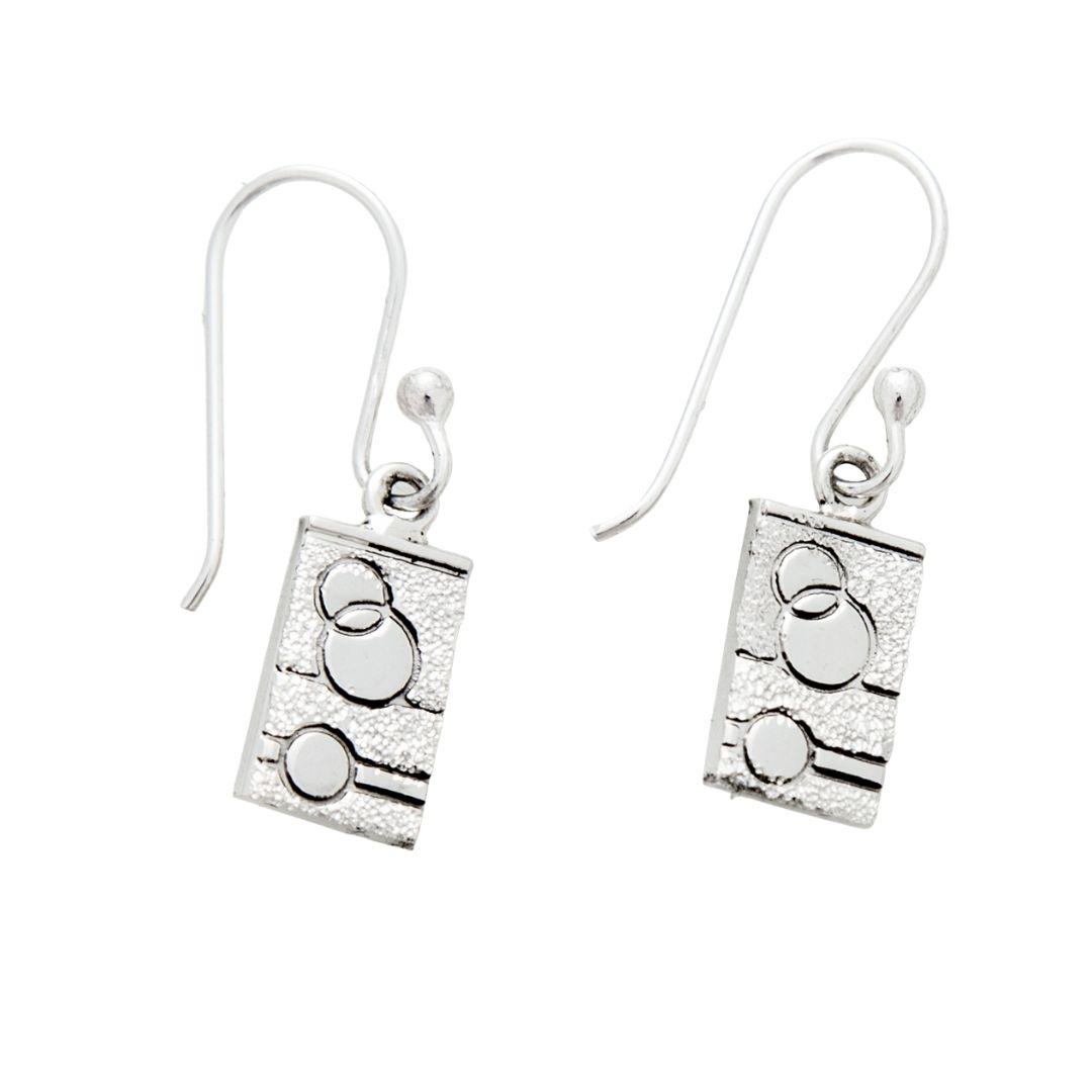 Sexy Hexie Quilt Jewelry Hook Earrings in sterling silver Siesta Silver Jewelry