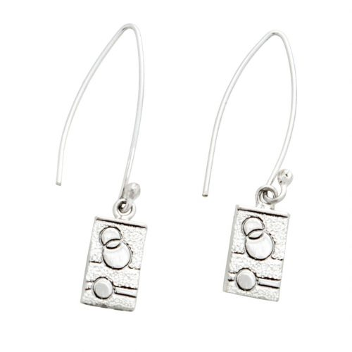 Glitzy Sister Quilt Jewelry Long Wire Earrings in sterling silver Siesta Silver Jewelry