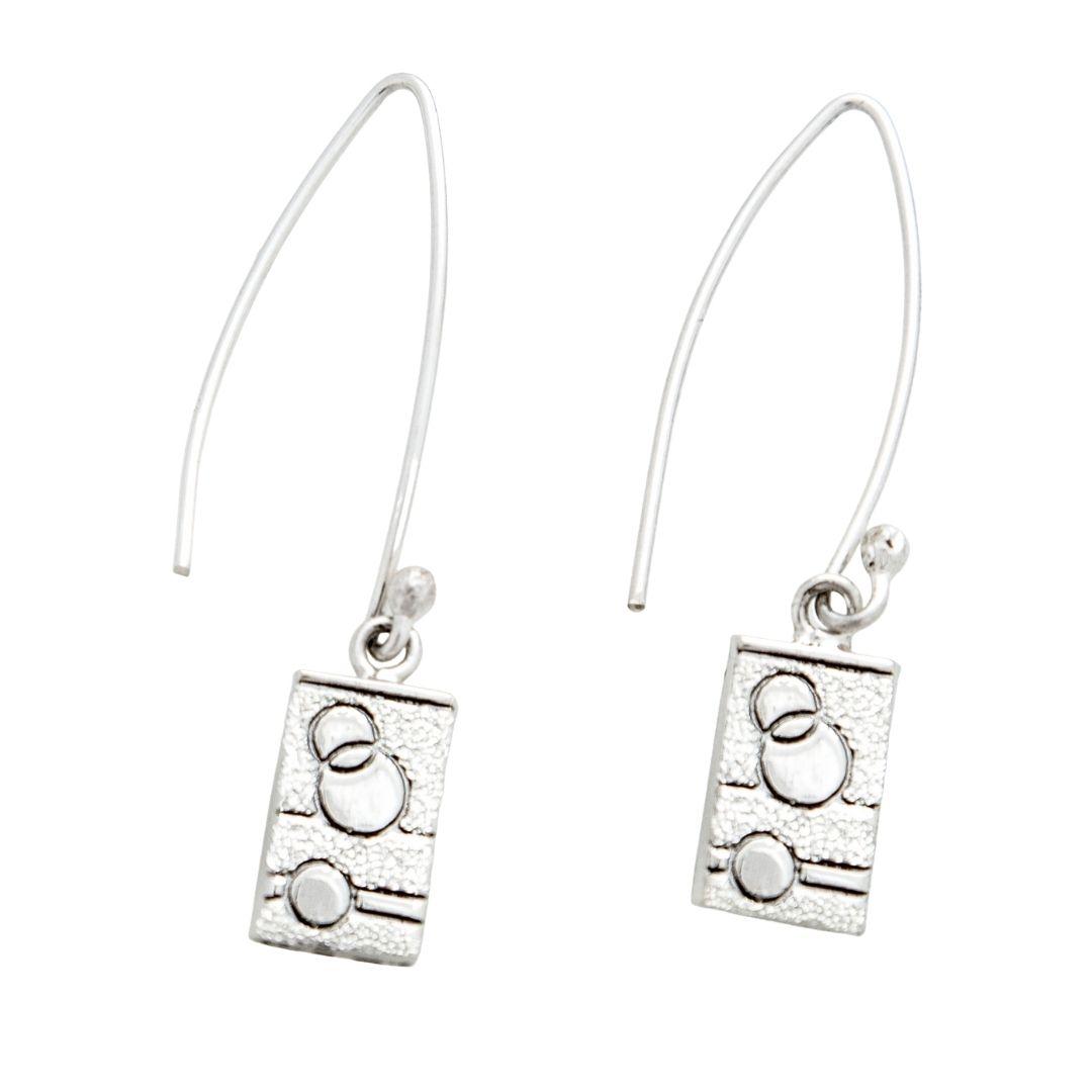 Glitzy Sister Quilt Jewelry Long Wire Earrings in sterling silver Siesta Silver Jewelry