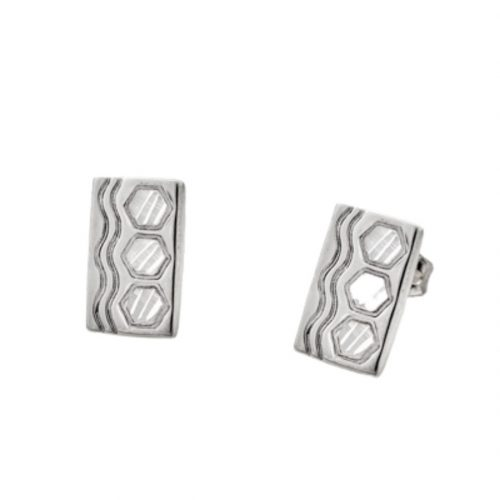 Sexy Hexie Quilt Jewelry Post Earrings in Sterling Silver Siesta Silver Jewelry
