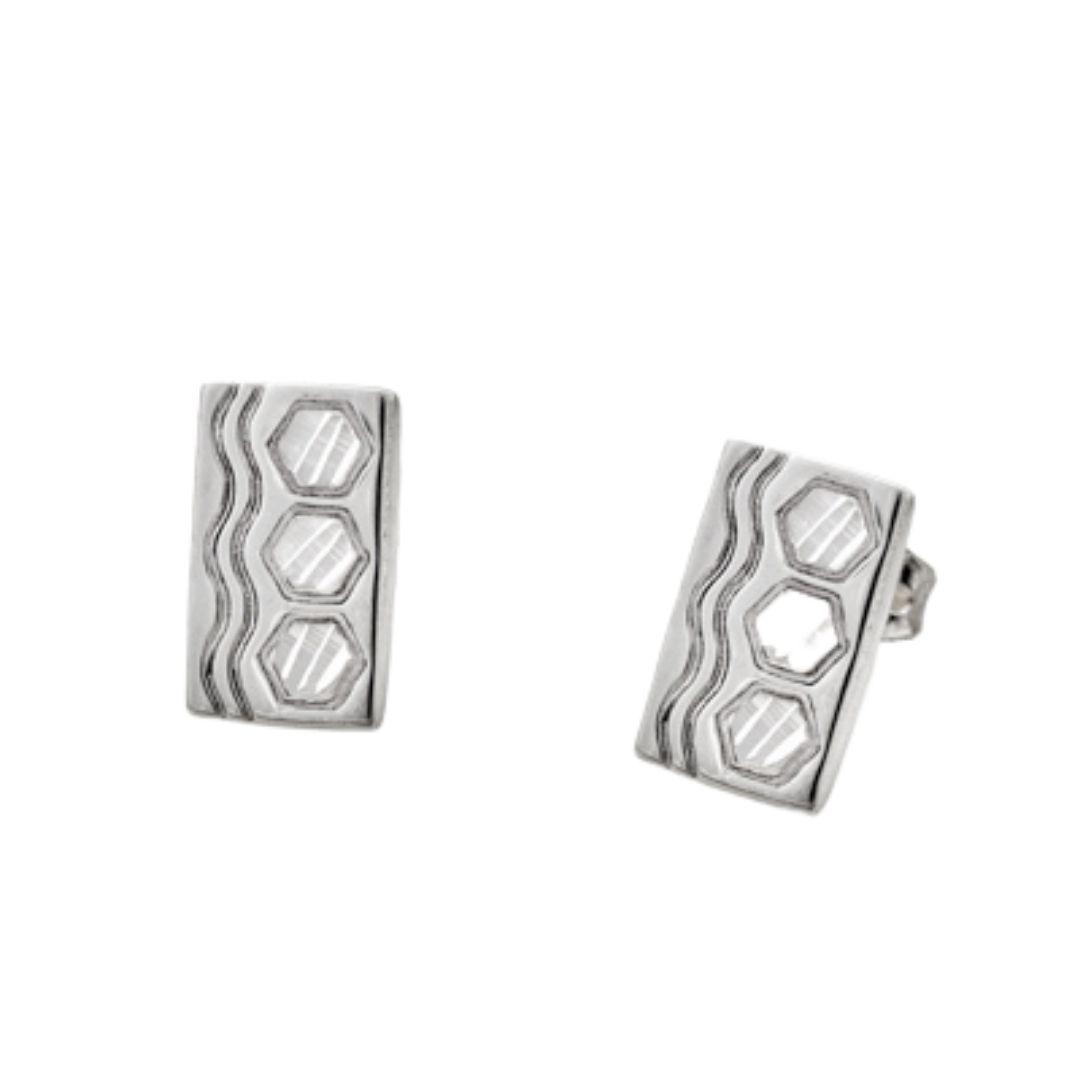 Sexy Hexie Quilt Jewelry Post Earrings in Sterling Silver Siesta Silver Jewelry