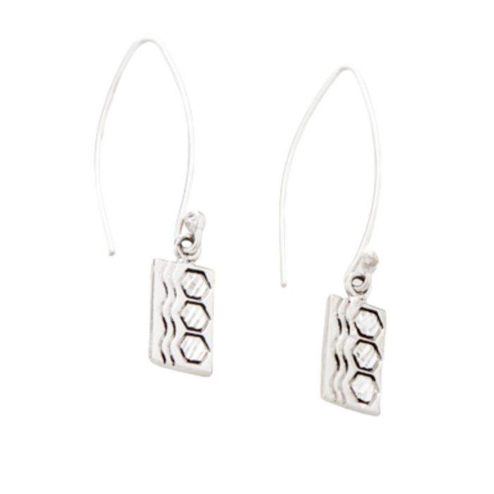 Sexy Hexie Quilt Jewelry Long Wire Earrings in Sterling Silver Siesta Silver Jewelry