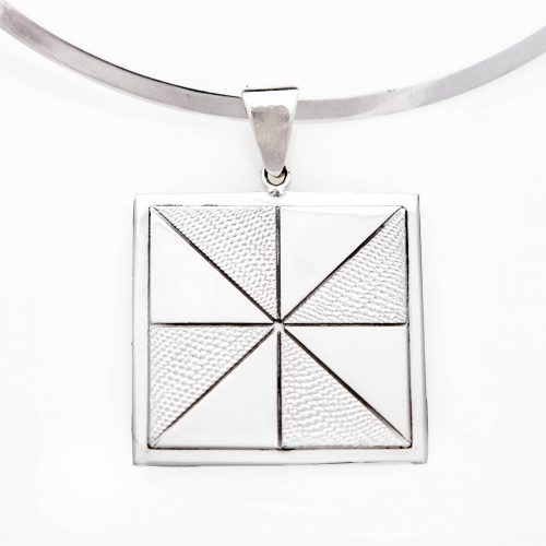 Pinwheel Quilt Jewelry Large Pendant