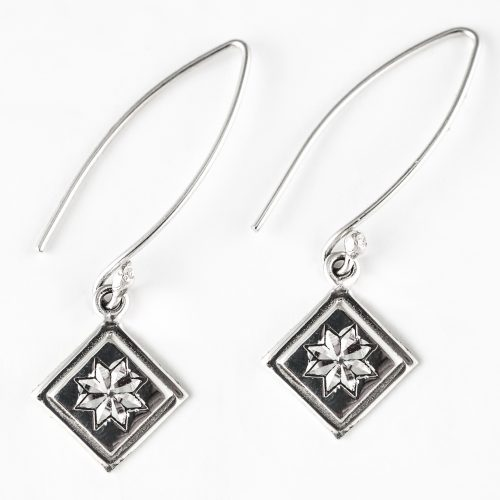 Lemoyne Star Quilt Jewelry Long Wire Earrings