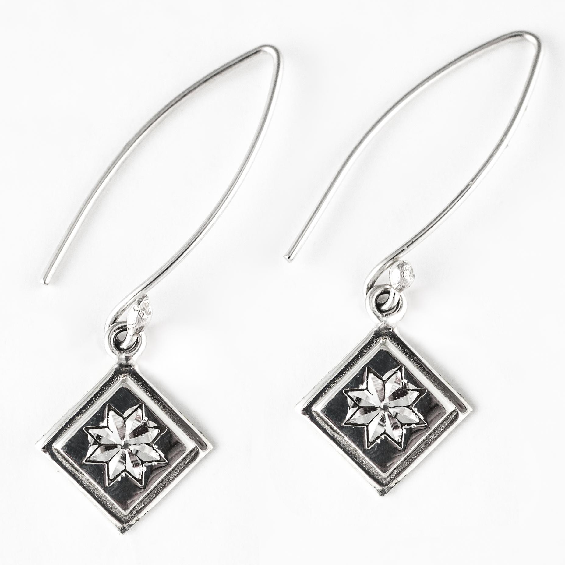 Lemoyne Star Quilt Jewelry Long Wire Earrings