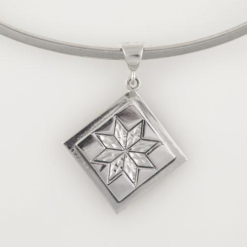 Lemoyne Star Quilt Jewelry Medium Pendant in Sterling Silver