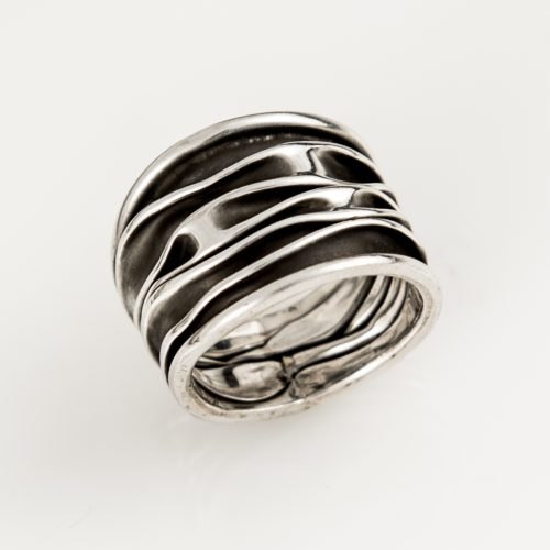 Scrunched Oxidized Ring in sterling silver