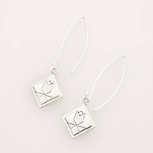 Tulip Quilt Jewelry Long Wire Earrings