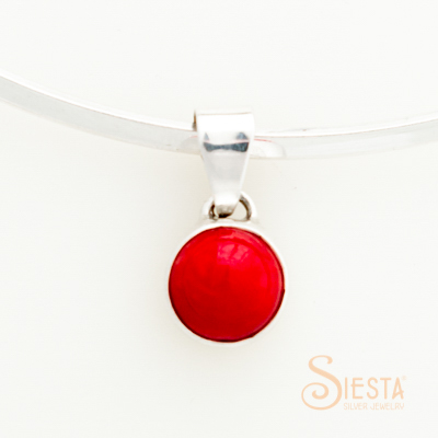 Sterling Silver Dyed Red Coral Pendant - small