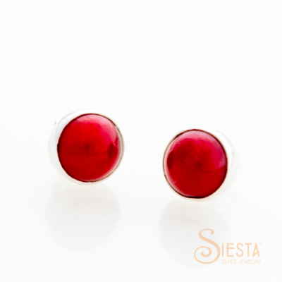 Sterling Silver Dyed Red Coral Earrings on Post
