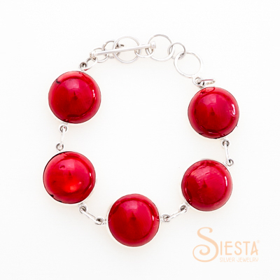 Sterling Silver Dyed Red Coral Bracelet