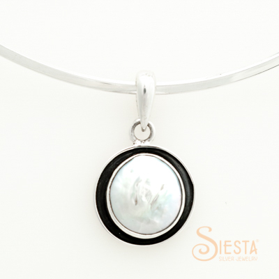 Sterling Silver Large Coin Pearl Pendant with Oxidation