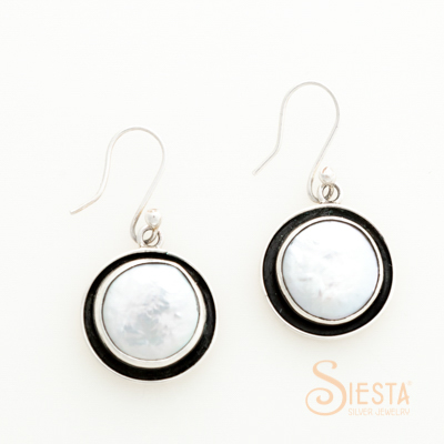 Sterling Silver Large Coin Pearl Earrings with Oxidation on Hook