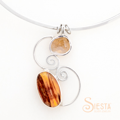 Sterling Silver Amber and Quartz Pendant
