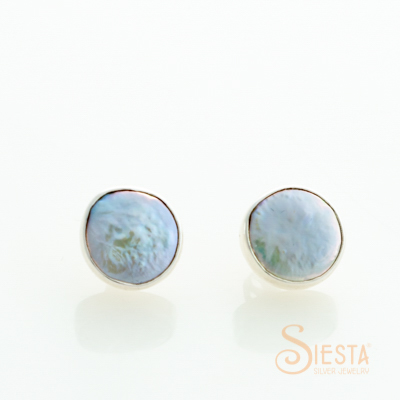 Sterling Silver Coin Pearl Earrings on Post