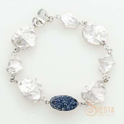 Sterling Silver Druzy Quartz and Leaf Bracelet