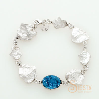 Sterling Silver Druzy and Leaf Bracelet