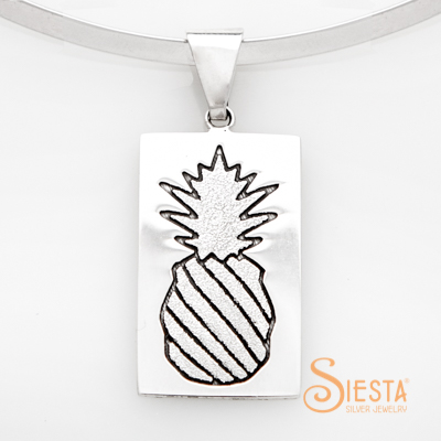 Sterling Silver Crowned Pineapple Large Pendant