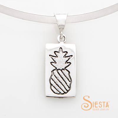 Sterling Silver Crowned Pineapple Medium Pendant