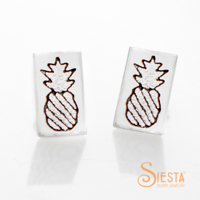 Crowned Pineapple Post Earrings