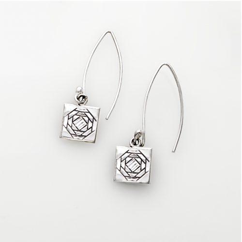 Friendship Pineapple Quilt Jewelry Long Wire Earrings