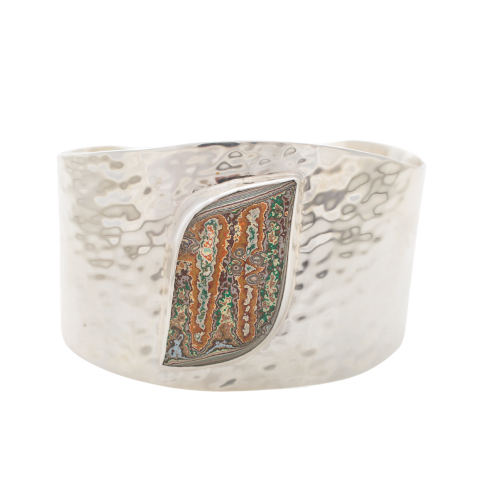 Fordite Vintage Rouge Plant Hammered Cuff