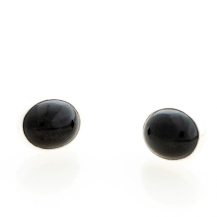 Black Onyx Cabachon Post Earrings