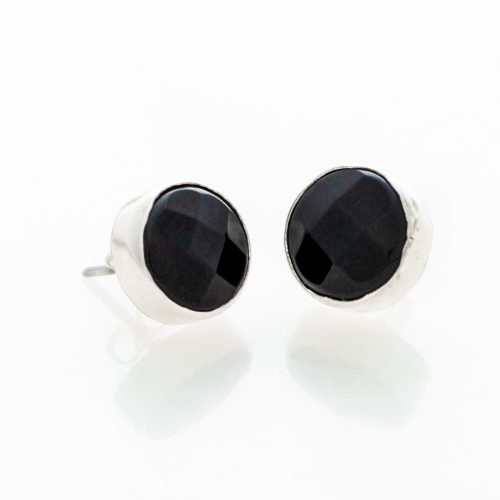 Black Onyx Faceted Post Earrings