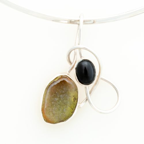 Black Onyx and Quartz Sterling Silver Pendant