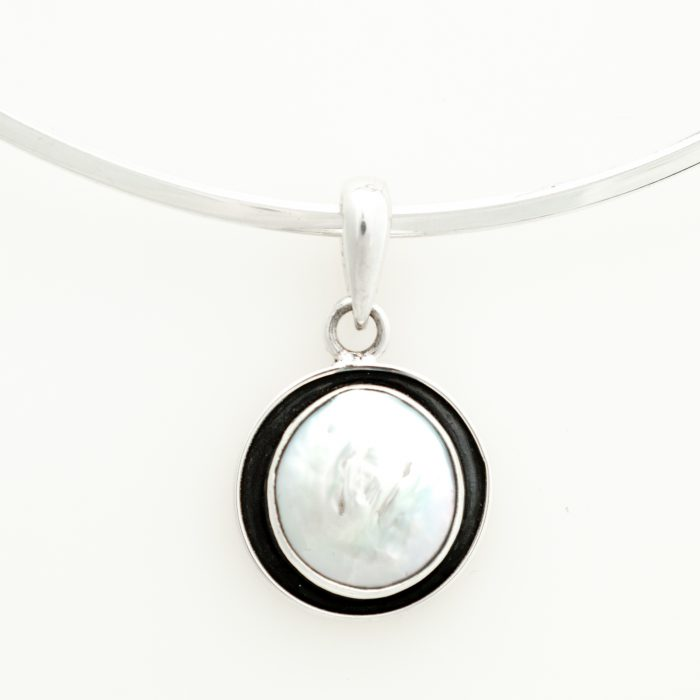Coin Pearl Oxidized Pendant in Sterling Silver