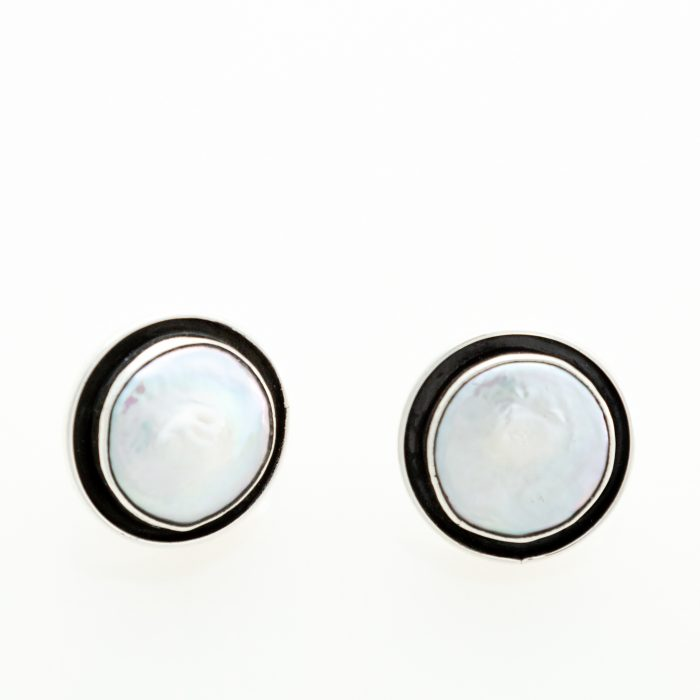 Coin Pearl Oxidized Post Earrings
