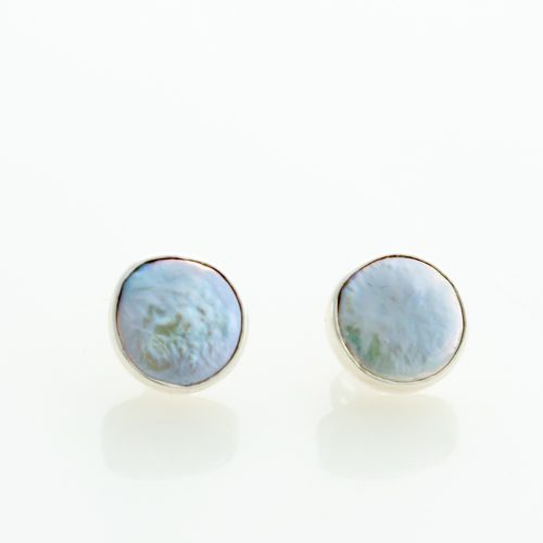Coin Pearl Post Earrings